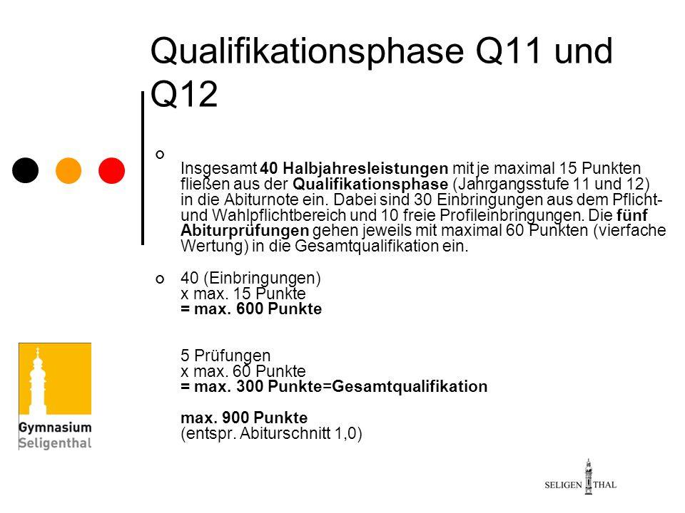 Qualifikationsphase Q11 und Q12 Insgesamt 40 Halbjahresleistungen mit je maximal 15 Punkten fließen aus der Qualifikationsphase (Jahrgangsstufe 11 und