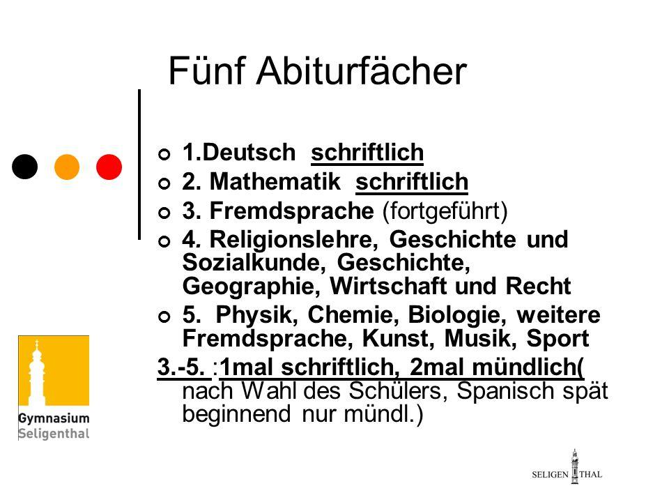 Fünf Abiturfächer 1.Deutsch schriftlich 2. Mathematik schriftlich 3. Fremdsprache (fortgeführt) 4. Religionslehre, Geschichte und Sozialkunde, Geschic