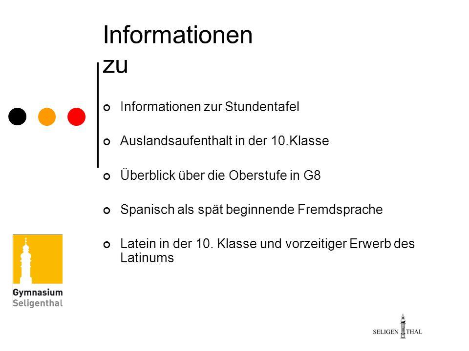 Informationen zu Informationen zur Stundentafel Auslandsaufenthalt in der 10.Klasse Überblick über die Oberstufe in G8 Spanisch als spät beginnende Fr