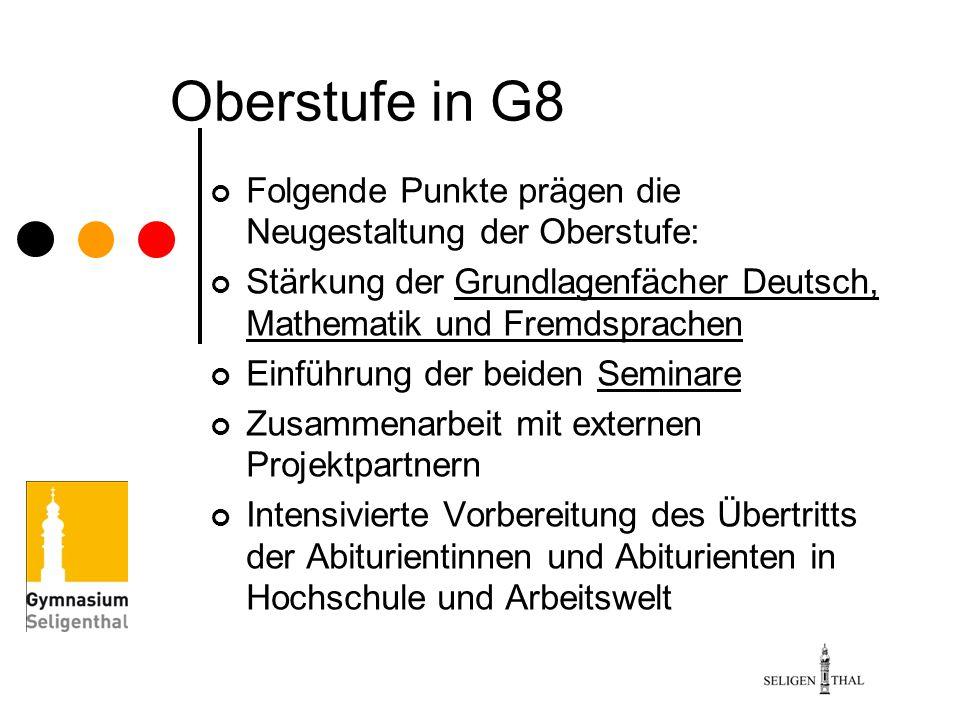 Oberstufe in G8 Folgende Punkte prägen die Neugestaltung der Oberstufe: Stärkung der Grundlagenfächer Deutsch, Mathematik und Fremdsprachen Einführung