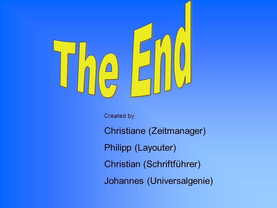 Created by Christiane (Zeitmanager) Philipp (Layouter) Christian (Schriftführer) Johannes (Universalgenie)