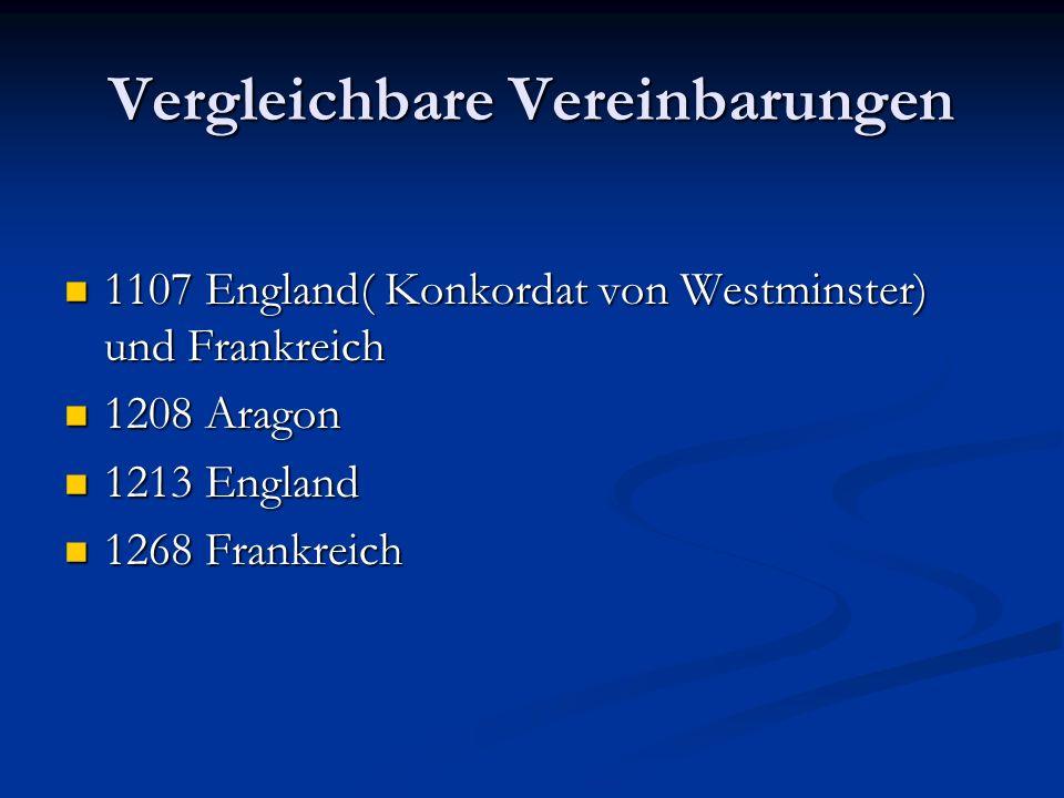 Wormser Konkordat Treffen(1119): Papst Kalixt II und Heinrich V wollen Einigung herbeiführen -Kaiser- - akzeptiert Anspruch der Kirche auf Investitur
