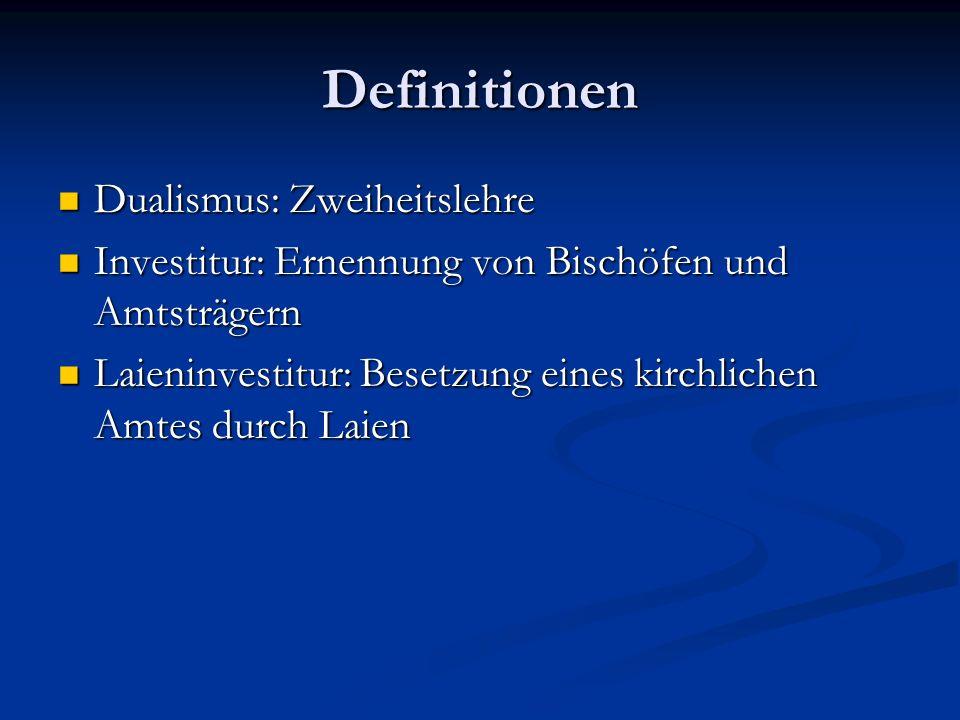 Dualismus zwischen Papsttum und Kaisertum - Investiturstreit -