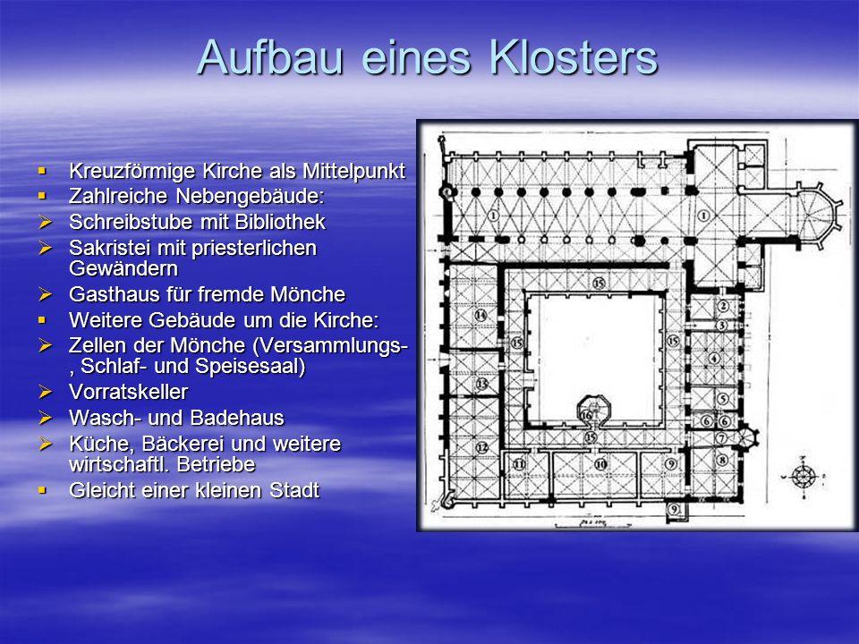 Aufbau eines Klosters Kreuzförmige Kirche als Mittelpunkt Kreuzförmige Kirche als Mittelpunkt Zahlreiche Nebengebäude: Zahlreiche Nebengebäude: Schrei
