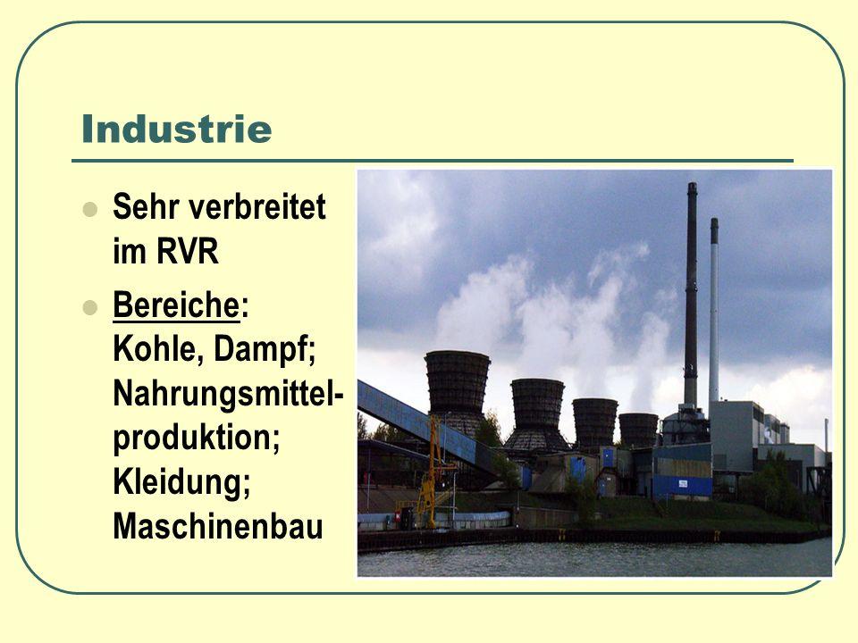 Industrie Sehr verbreitet im RVR Bereiche: Kohle, Dampf; Nahrungsmittel- produktion; Kleidung; Maschinenbau