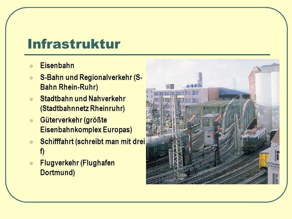 Infrastruktur Eisenbahn S-Bahn und Regionalverkehr (S- Bahn Rhein-Ruhr) Stadtbahn und Nahverkehr (Stadtbahnnetz Rheinruhr) Güterverkehr (größte Eisenb