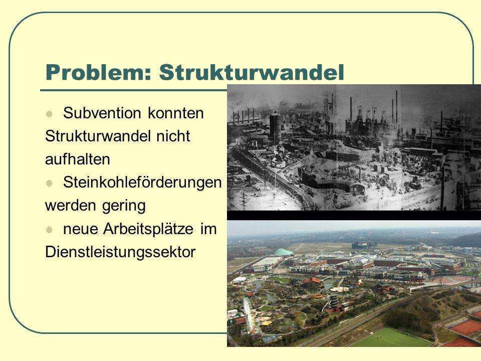 Problem: Strukturwandel Subvention konnten Strukturwandel nicht aufhalten Steinkohleförderungen werden gering neue Arbeitsplätze im Dienstleistungssek