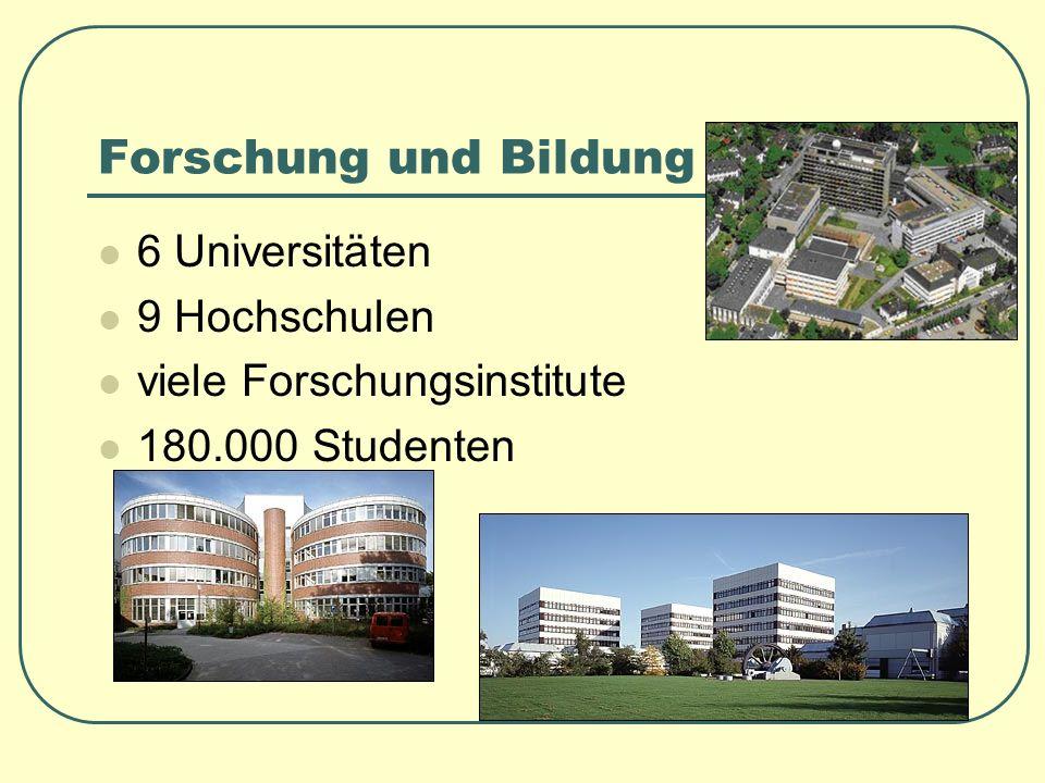 Forschung und Bildung 6 Universitäten 9 Hochschulen viele Forschungsinstitute 180.000 Studenten