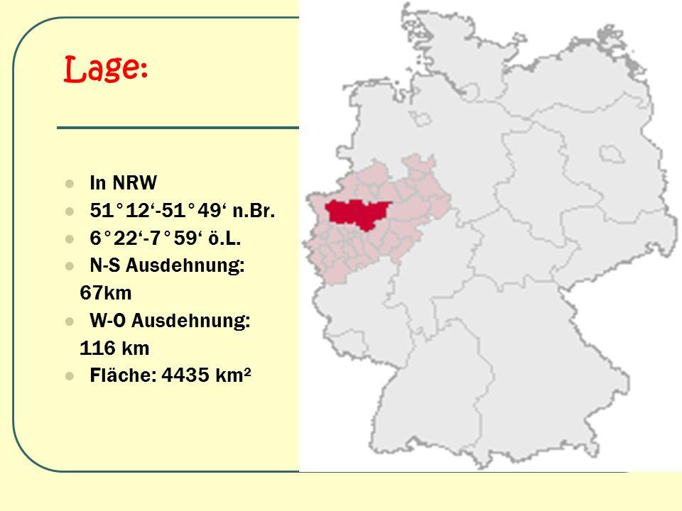 Lage: In NRW 51°12-51°49 n.Br. 6°22-7°59 ö.L. N-S Ausdehnung: 67km W-O Ausdehnung: 116 km Fläche: 4435 km²