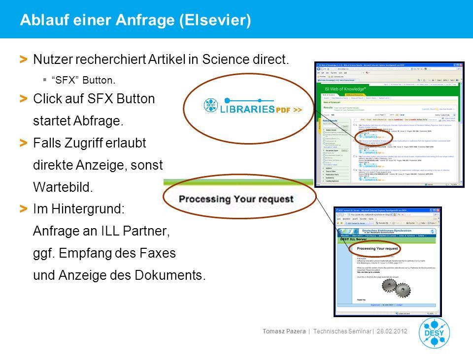 Tomasz Pazera | Technisches Seminar | 28.02.2012 Ablauf einer Anfrage (Elsevier) > Nutzer recherchiert Artikel in Science direct. SFX Button. > Click