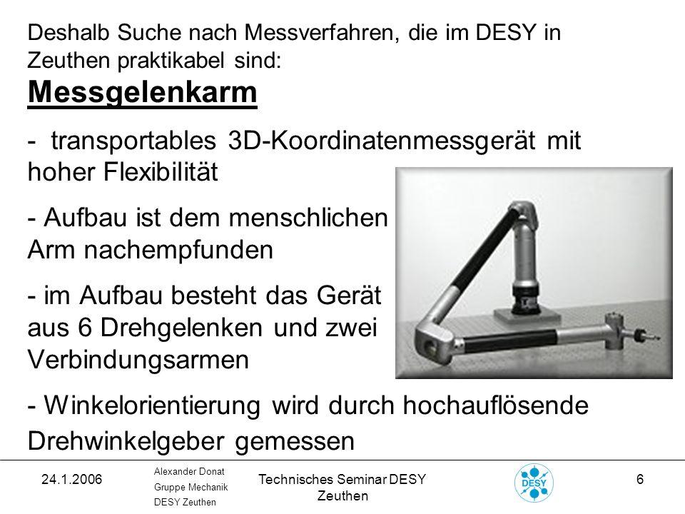 24.1.2006Technisches Seminar DESY Zeuthen 17 Alexander Donat Gruppe Mechanik DESY Zeuthen 3D-Koordinatenmessung: Ablauf einer Messung: - PITZ-Referenzsystem im Programm mittels Best Fit Methode erzeugen.