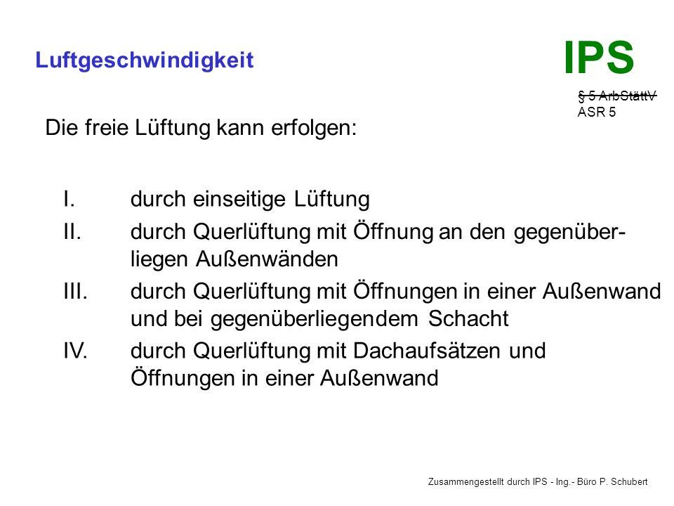 Zusammengestellt durch IPS - Ing.- Büro P. Schubert IPS Luftgeschwindigkeit § 5 ArbStättV ASR 5 NATÜRLICHE LÜFTUNG Die freie oder natürliche Lüftung w