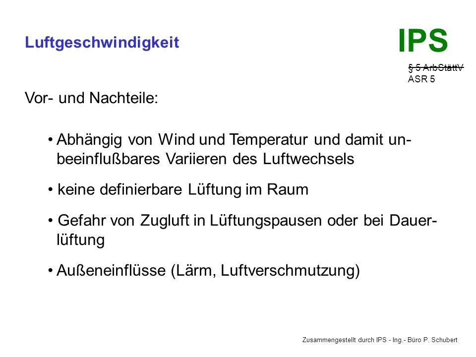Zusammengestellt durch IPS - Ing.- Büro P. Schubert IPS Luftgeschwindigkeit § 5 ArbStättV ASR 5 Die freie Lüftung kann erfolgen: I.durch einseitige Lü