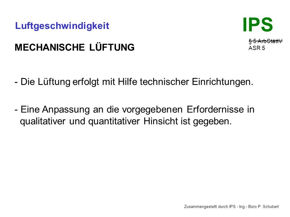 Zusammengestellt durch IPS - Ing.- Büro P. Schubert IPS Luftgeschwindigkeit § 5 ArbStättV ASR 5 Vor- und Nachteile: Abhängig von Wind und Temperatur u
