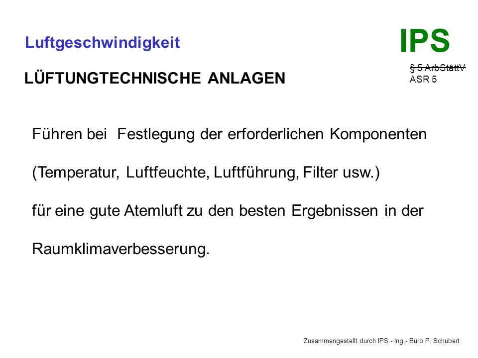 Zusammengestellt durch IPS - Ing.- Büro P. Schubert IPS Luftgeschwindigkeit § 5 ArbStättV ASR 5 MECHANISCHE LÜFTUNG Vorteile gegenüber der natürlichen