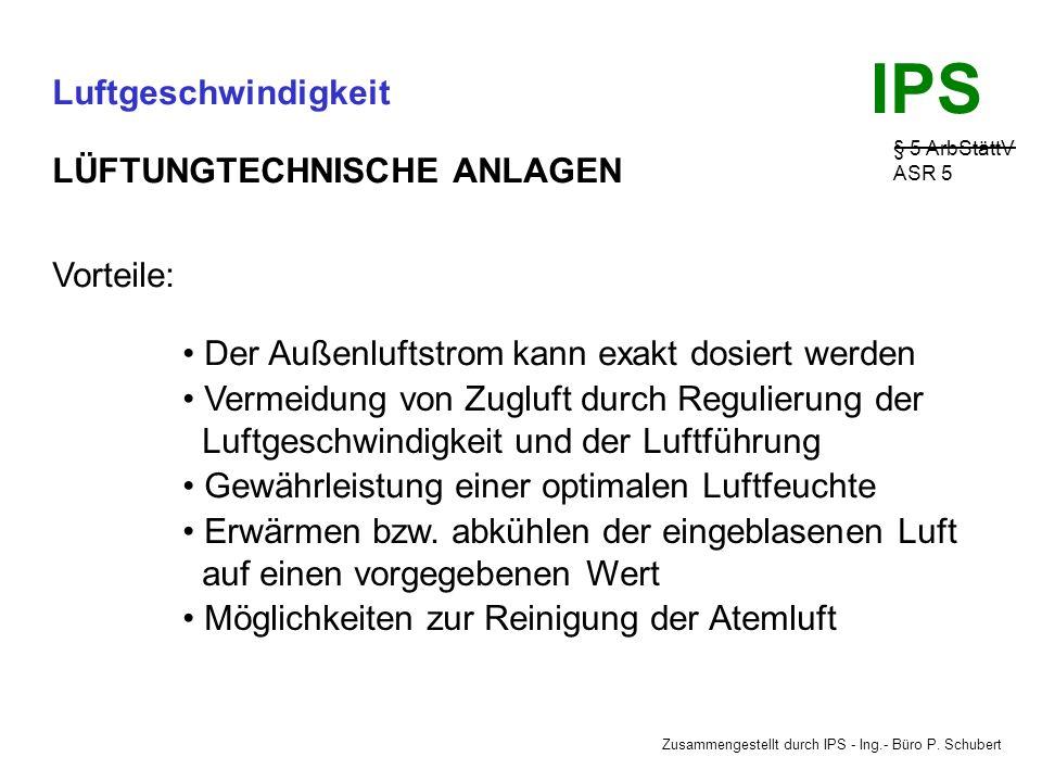 Zusammengestellt durch IPS - Ing.- Büro P. Schubert IPS Luftgeschwindigkeit § 5 ArbStättV ASR 5 LÜFTUNGTECHNISCHE ANLAGEN Führen bei Festlegung der er