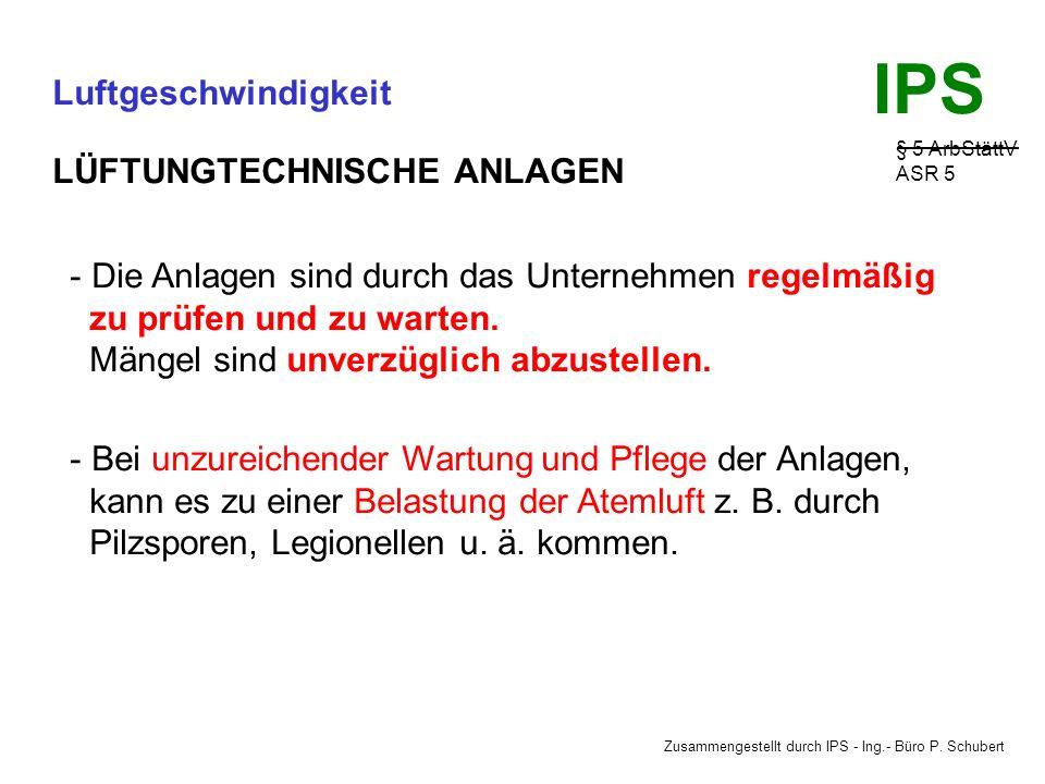 Zusammengestellt durch IPS - Ing.- Büro P. Schubert IPS Luftgeschwindigkeit § 5 ArbStättV ASR 5 LÜFTUNGTECHNISCHE ANLAGEN Vorteile: Der Außenluftstrom