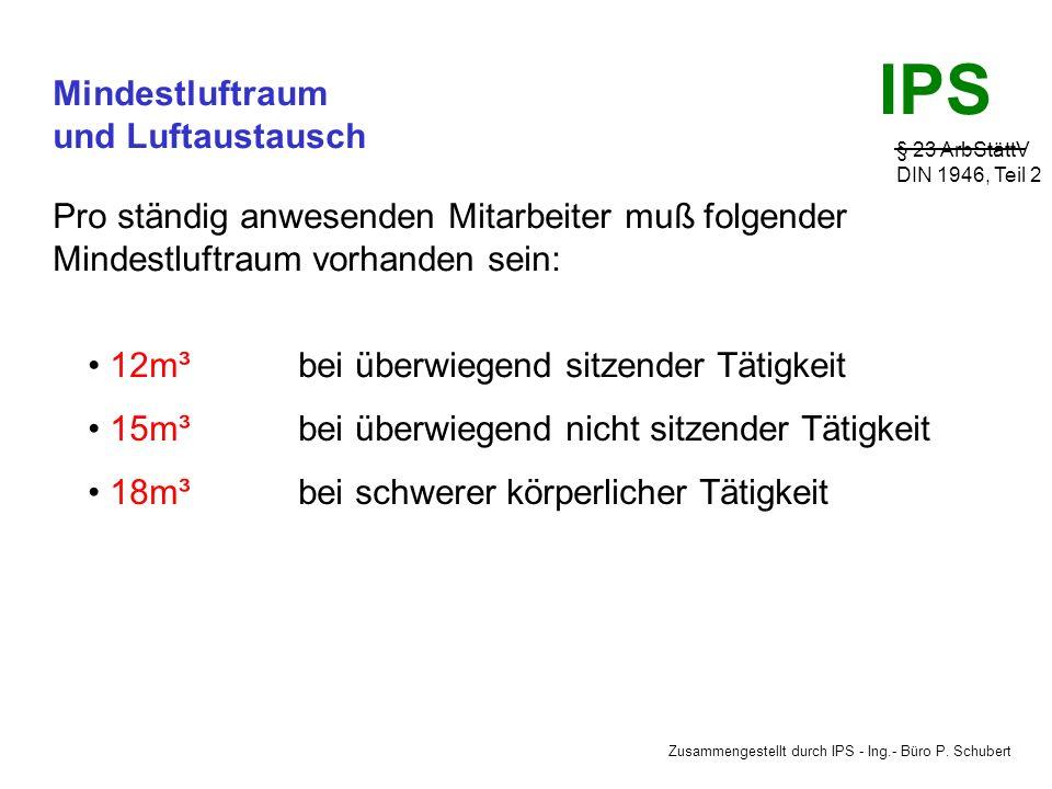 Zusammengestellt durch IPS - Ing.- Büro P. Schubert IPS Luftgeschwindigkeit § 5 ArbStättV ASR 5 LÜFTUNGTECHNISCHE ANLAGEN - Die Anlagen sind durch das
