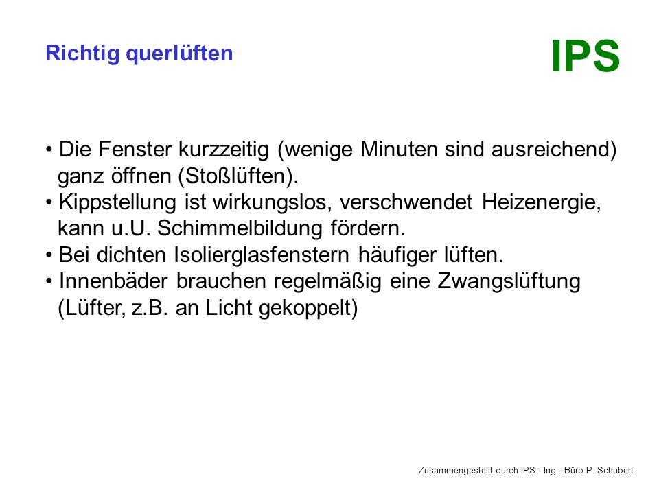 Zusammengestellt durch IPS - Ing.- Büro P. Schubert IPS Richtig querlüften Von drinnen nach draußen lüften. (Wärmere = feuchtere Luft raus, dafür kält