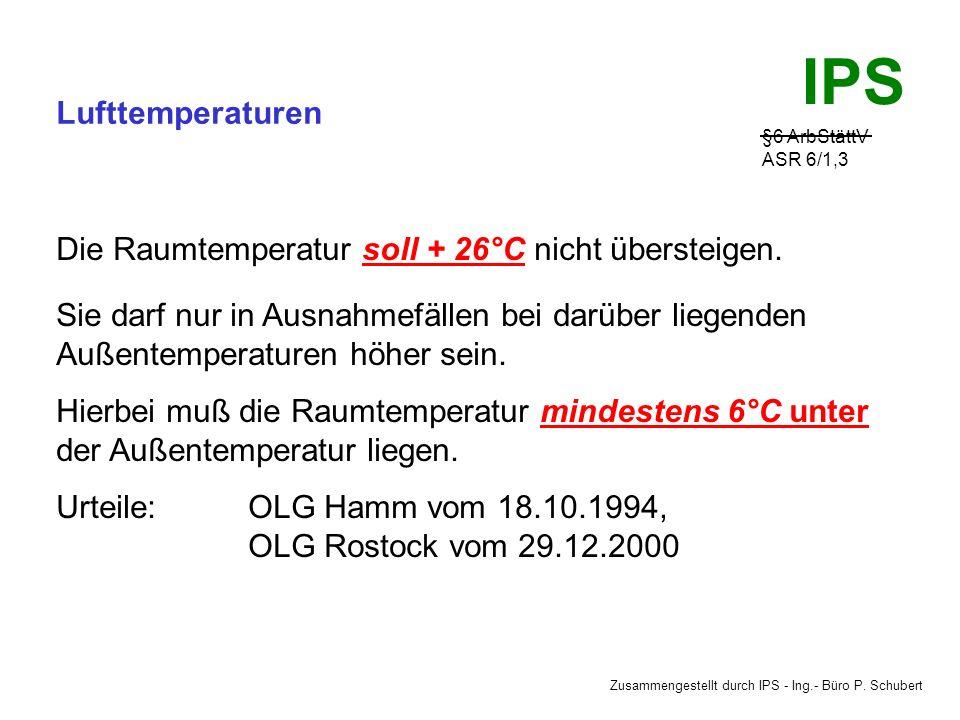 Zusammengestellt durch IPS - Ing.- Büro P. Schubert IPS Lufttemperaturen §6 ArbStättV ASR 6/1,3 Mindestlufttemperaturen, müssen vor Arbeitsbeginn erre