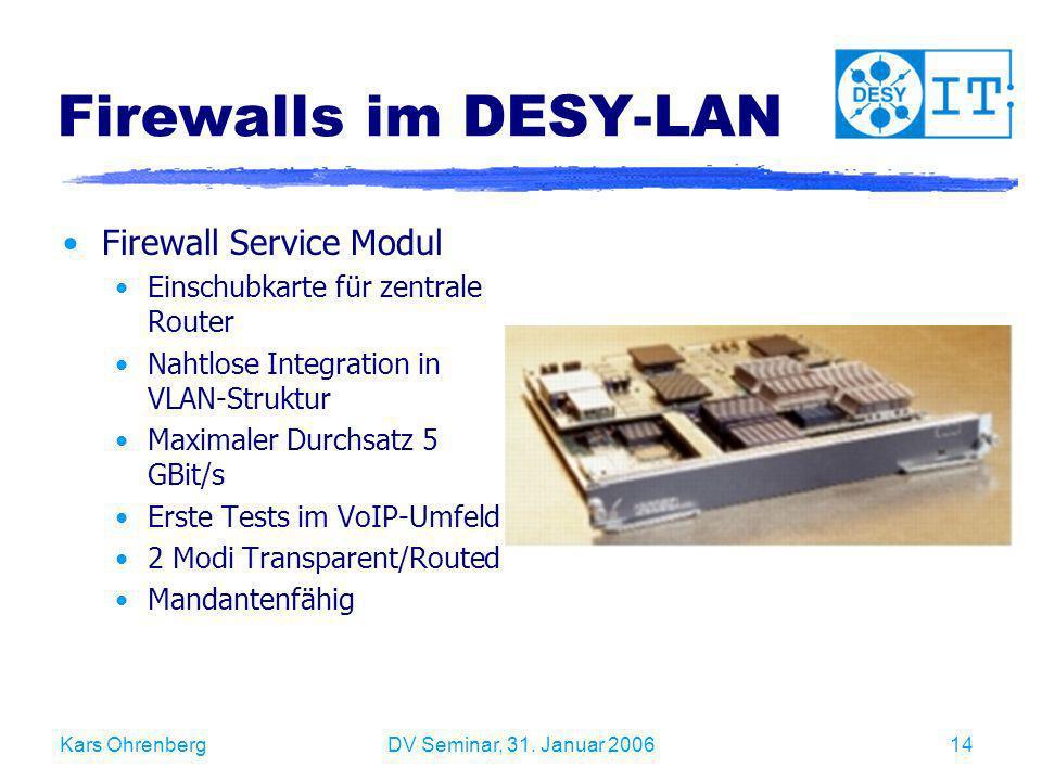 Kars OhrenbergDV Seminar, 31. Januar 200614 Firewalls im DESY-LAN Firewall Service Modul Einschubkarte für zentrale Router Nahtlose Integration in VLA