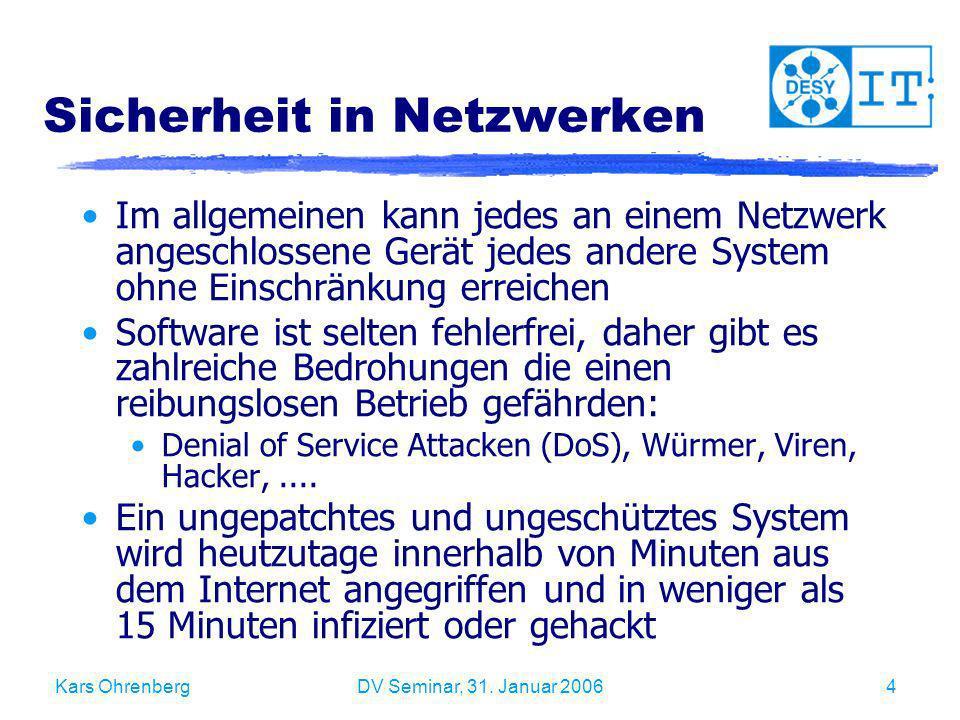 Kars OhrenbergDV Seminar, 31. Januar 20064 Sicherheit in Netzwerken Im allgemeinen kann jedes an einem Netzwerk angeschlossene Gerät jedes andere Syst