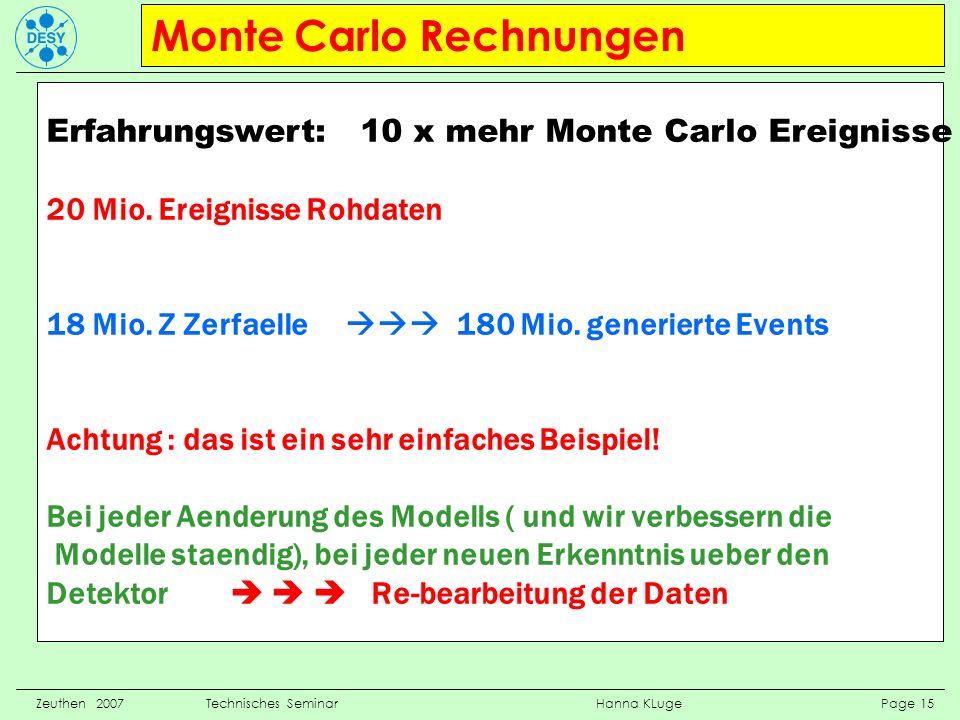 Monte Carlo Rechnungen Zeuthen 2007 Technisches Seminar Hanna KLuge Page 15 Erfahrungswert: 10 x mehr Monte Carlo Ereignisse 20 Mio. Ereignisse Rohdat