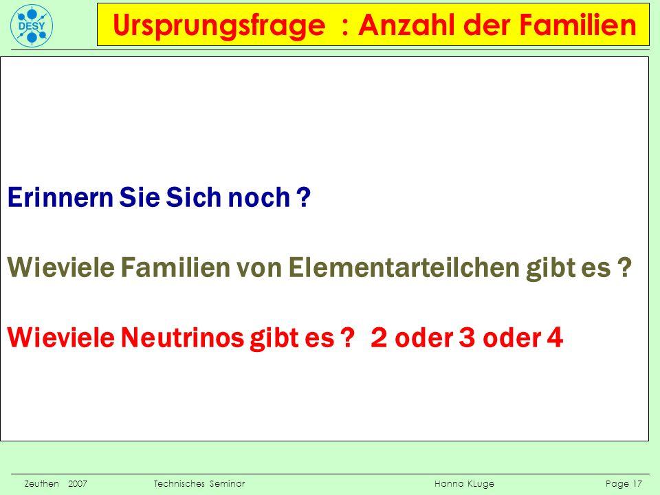 Ursprungsfrage : Anzahl der Familien Zeuthen 2007 Technisches Seminar Hanna KLuge Page 17 Erinnern Sie Sich noch ? Wieviele Familien von Elementarteil