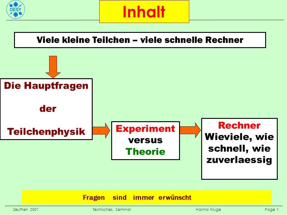 Zeuthen 2007 Techisches. Seminar Hanna Kluge Page 1 Inhalt Fragen sind immer erwünscht Viele kleine Teilchen – viele schnelle Rechner Die Hauptfragen