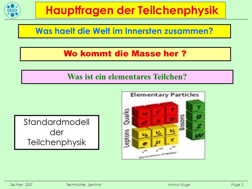 Zeuthen 2007 Technisches Seminar Hanna Kluge Page 2 Hauptfragen der Teilchenphysik Was haelt die Welt im Innersten zusammen? Wo kommt die Masse her ?