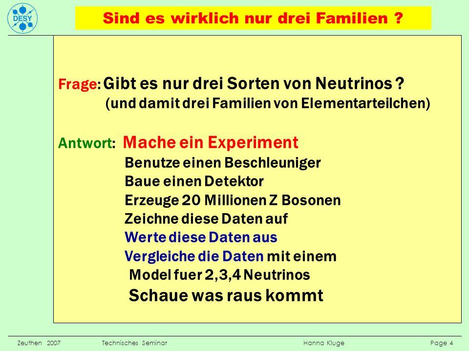 Zeuthen 2007 Technisches Seminar Hanna Kluge Page 4 Frage: Gibt es nur drei Sorten von Neutrinos ? (und damit drei Familien von Elementarteilchen) Ant