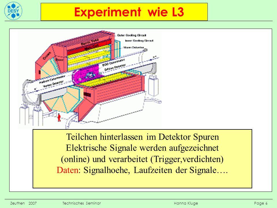 Experiment wie L3 Zeuthen 2007 Technisches Seminar Hanna Kluge Page 6 Teilchen hinterlassen im Detektor Spuren Elektrische Signale werden aufgezeichne