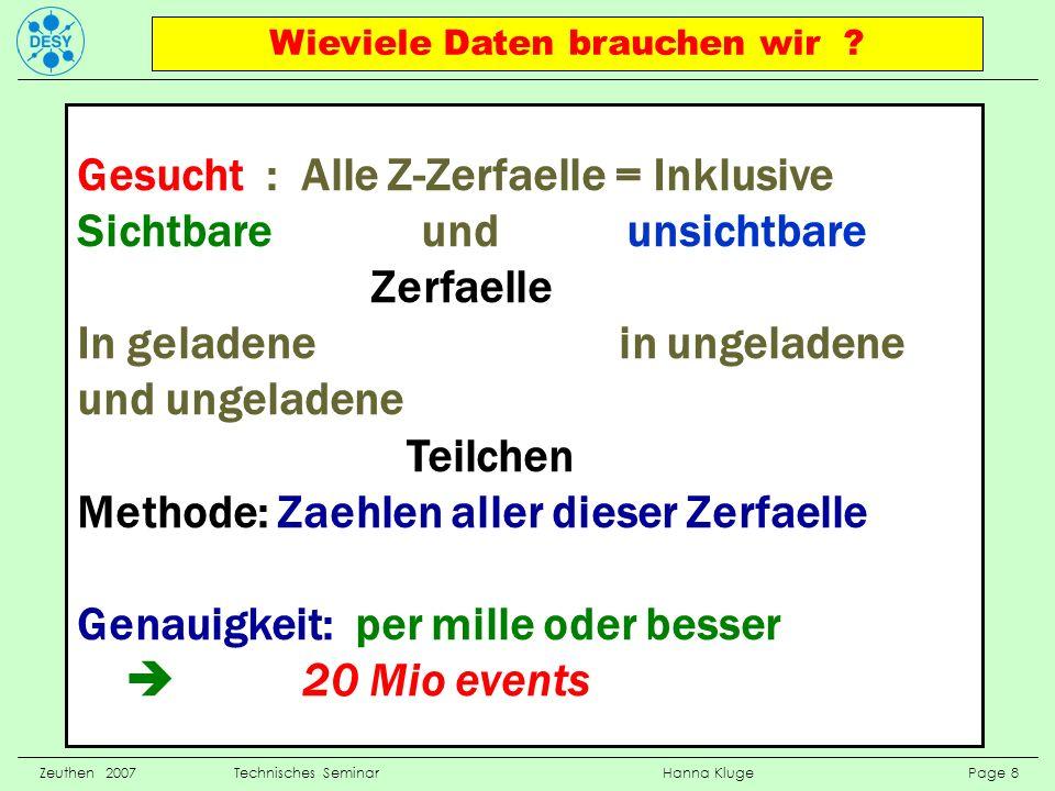 Physikalische Messgroessen Zeuthen 2007 Technisches Seminar Hanna Kluge Page 9 Cross section= Wirkungsquerschnitt = Anzahl der Events eines bestimm- ten Typs Energie eines Teilchens, Information aus dem Kalorimeter Impuls/Ort eines Teilchens gemessen mit Spurdetektoren, Ort und Signal