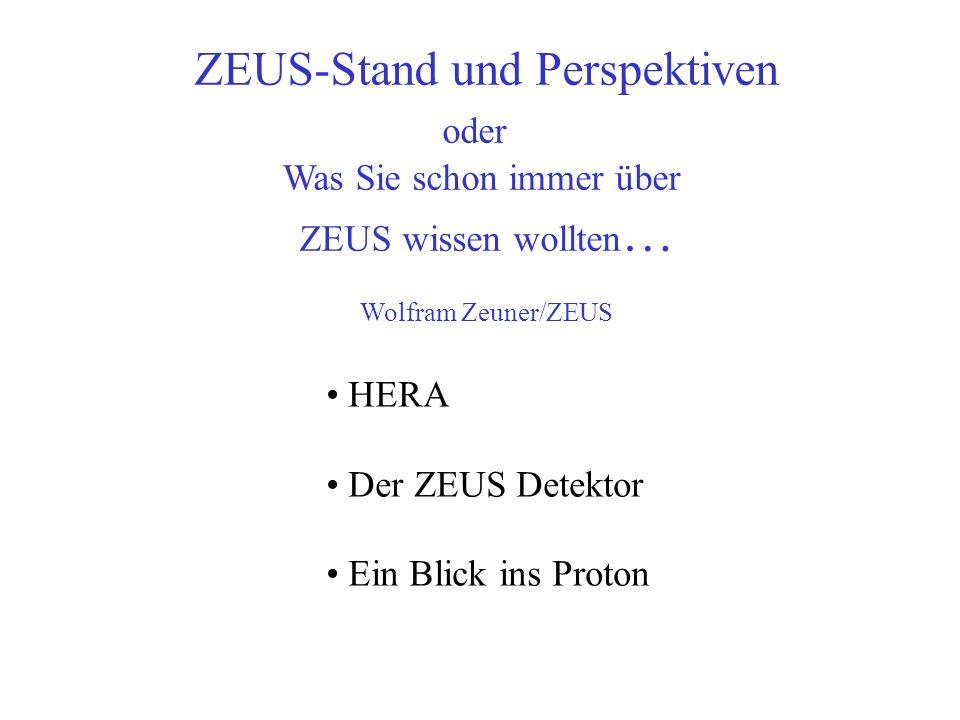 ZEUS-Stand und Perspektiven oder Was Sie schon immer über ZEUS wissen wollten … Wolfram Zeuner/ZEUS HERA Der ZEUS Detektor Ein Blick ins Proton