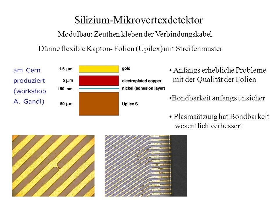 Silizium-Mikrovertexdetektor Modulbau: Zeuthen kleben der Verbindungskabel Dünne flexible Kapton- Folien (Upilex) mit Streifenmuster Anfangs erheblich