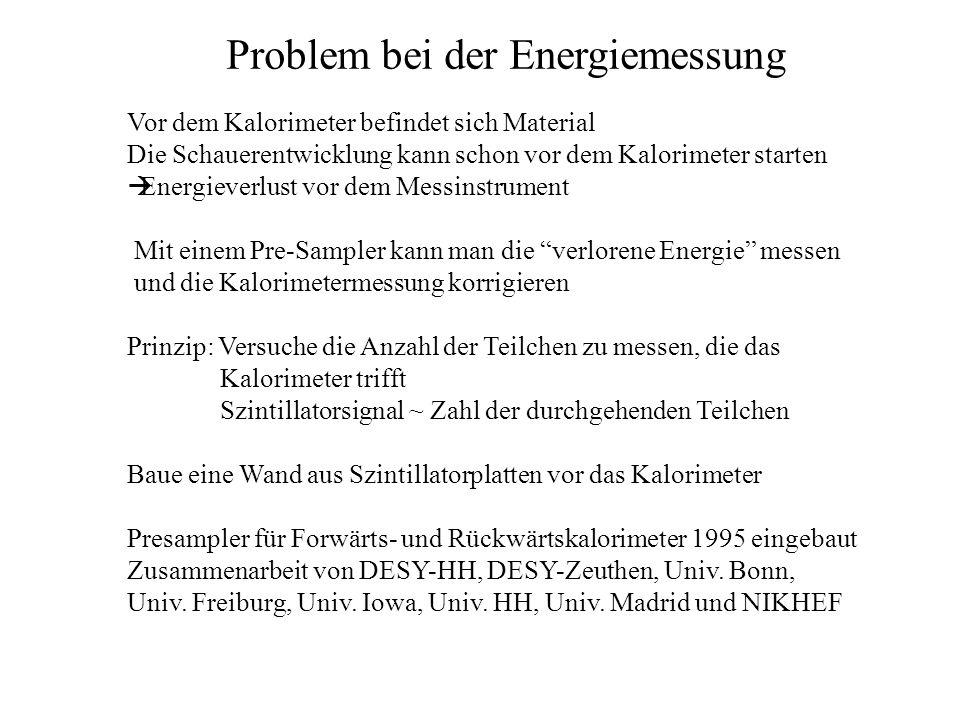 Problem bei der Energiemessung Vor dem Kalorimeter befindet sich Material Die Schauerentwicklung kann schon vor dem Kalorimeter starten Energieverlust