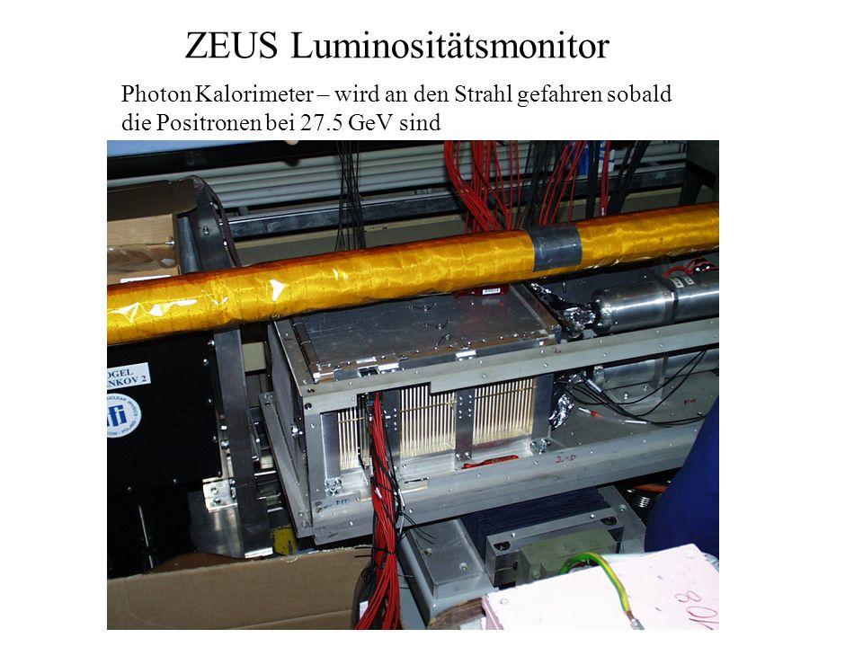 ZEUS Luminositätsmonitor Photon Kalorimeter – wird an den Strahl gefahren sobald die Positronen bei 27.5 GeV sind