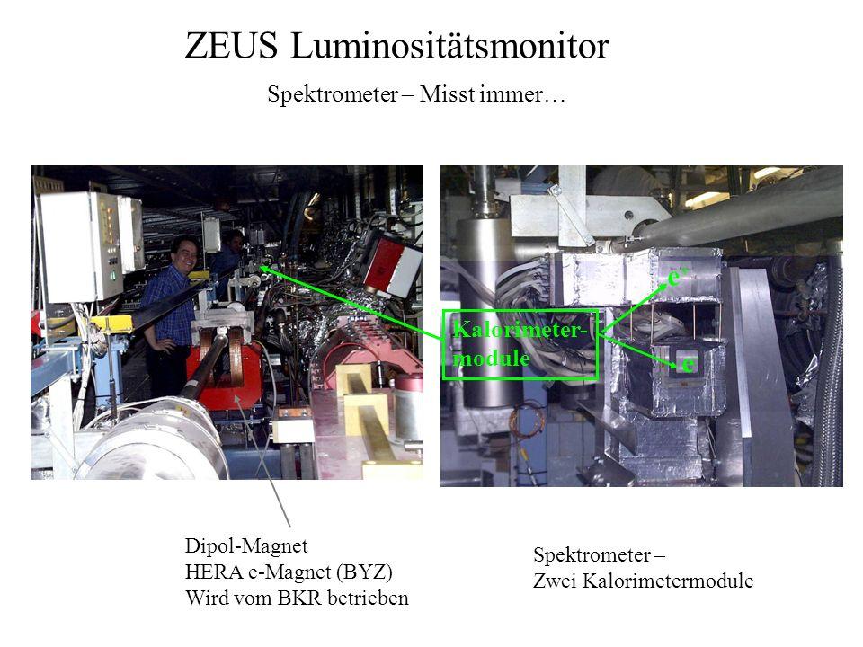 ZEUS Luminositätsmonitor Spektrometer – Misst immer… Dipol-Magnet HERA e-Magnet (BYZ) Wird vom BKR betrieben Spektrometer – Zwei Kalorimetermodule e+e