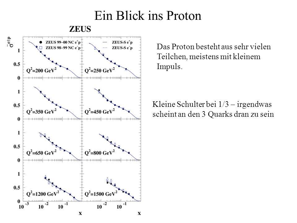 Ein Blick ins Proton Das Proton besteht aus sehr vielen Teilchen, meistens mit kleinem Impuls. Kleine Schulter bei 1/3 – irgendwas scheint an den 3 Qu