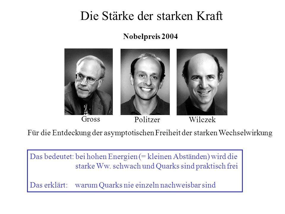 Die Stärke der starken Kraft Nobelpreis 2004 Gross PolitzerWilczek Für die Entdeckung der asymptotischen Freiheit der starken Wechselwirkung Das bedeu