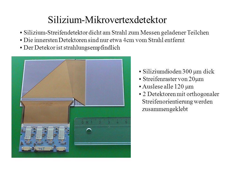 Silizium-Mikrovertexdetektor Silizium-Streifendetektor dicht am Strahl zum Messen geladener Teilchen Die innersten Detektoren sind nur etwa 4cm vom St