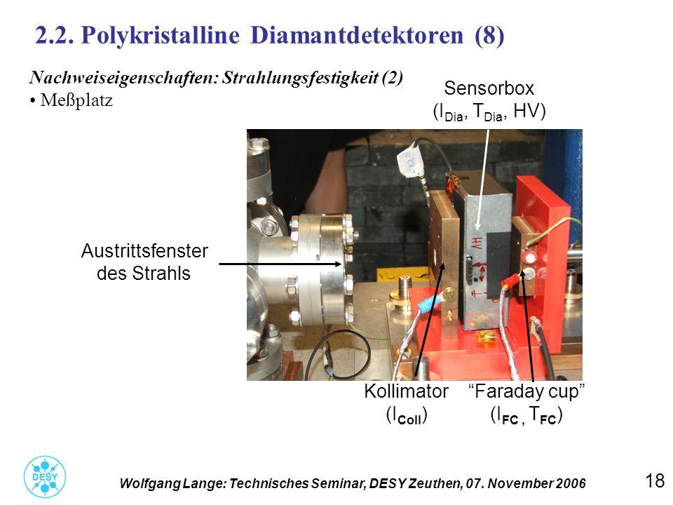 18 2.2. Polykristalline Diamantdetektoren (8) Wolfgang Lange: Technisches Seminar, DESY Zeuthen, 07. November 2006 Nachweiseigenschaften: Strahlungsfe