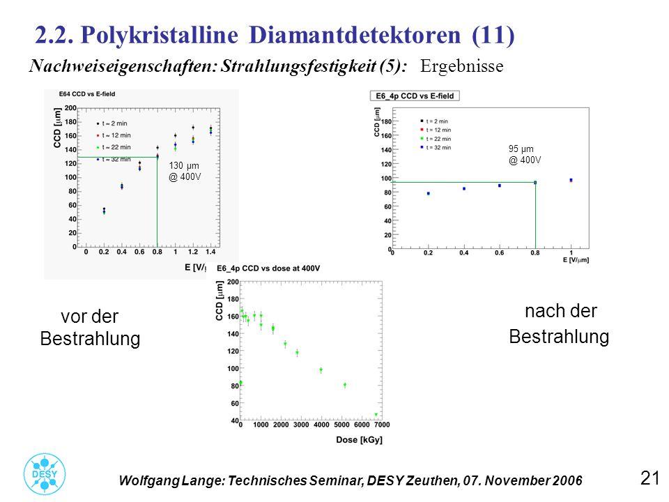 21 2.2. Polykristalline Diamantdetektoren (11) Wolfgang Lange: Technisches Seminar, DESY Zeuthen, 07. November 2006 Nachweiseigenschaften: Strahlungsf