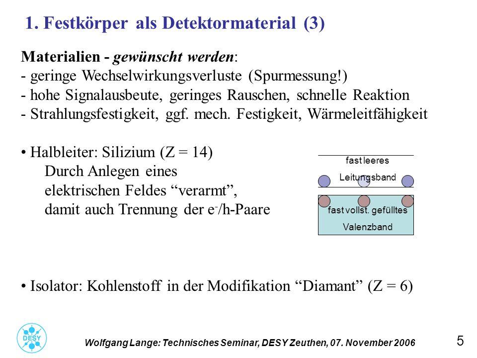 5 1. Festkörper als Detektormaterial (3) Wolfgang Lange: Technisches Seminar, DESY Zeuthen, 07. November 2006 Materialien - gewünscht werden: - gering