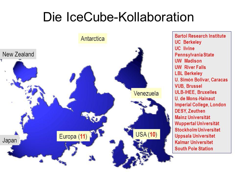 IceCube 1400 m 2400 m AMANDA South Pole IceTop - 80 Strings - 4800 PMT -Instrumentiertes Volumen: 1 km 3 -Installation: 2004-2010 ~ 80.000 atm. per ye