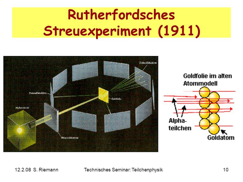 12.2.08 S. RiemannTechnisches Seminar: Teilchenphysik10 Rutherfordsches Streuexperiment (1911)
