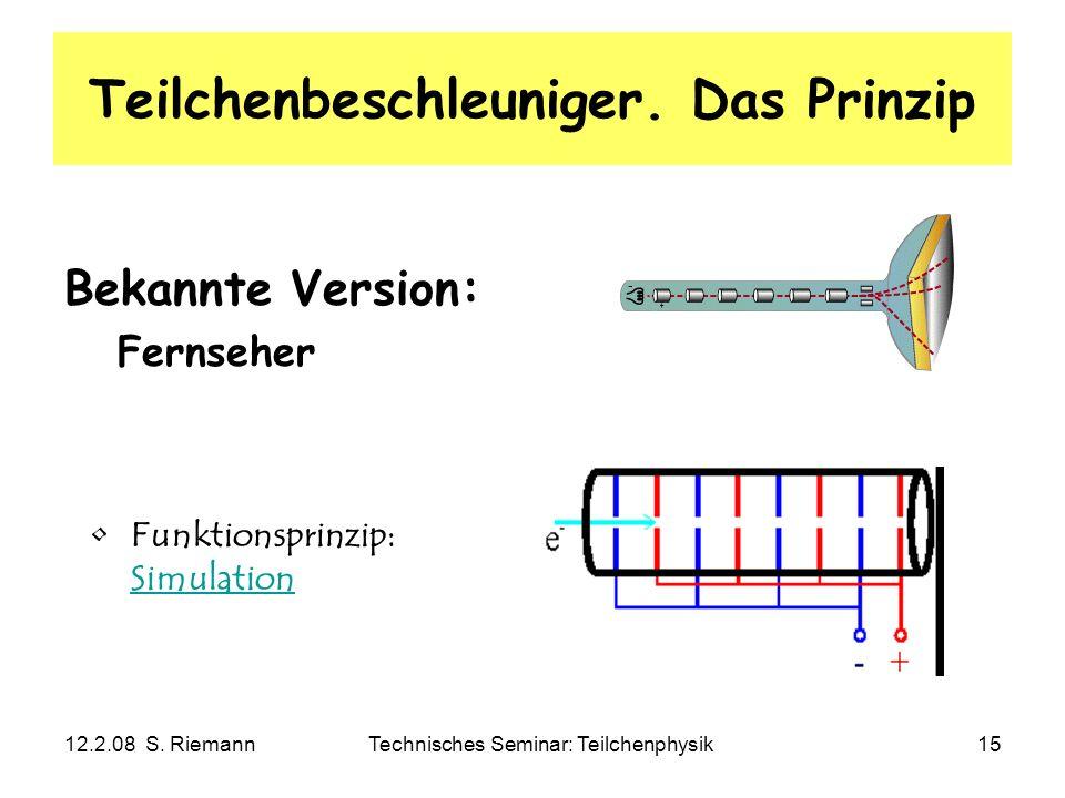 12.2.08 S. RiemannTechnisches Seminar: Teilchenphysik15 Teilchenbeschleuniger. Das Prinzip Bekannte Version: Fernseher Funktionsprinzip: Simulation Si