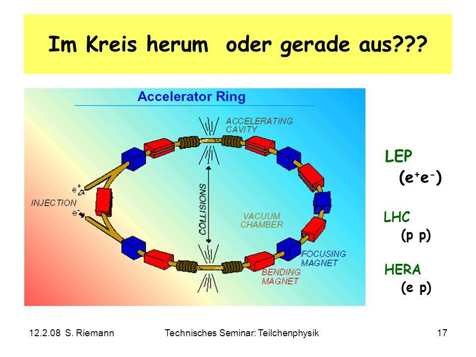 12.2.08 S. RiemannTechnisches Seminar: Teilchenphysik17 Im Kreis herum oder gerade aus??? LEP (e + e - ) LHC (p p) HERA (e p)