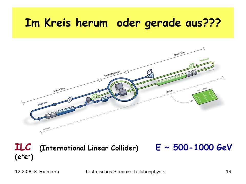 12.2.08 S. RiemannTechnisches Seminar: Teilchenphysik19 Im Kreis herum oder gerade aus??? ILC (International Linear Collider) E ~ 500-1000 GeV (e + e