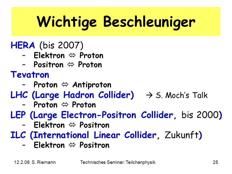 12.2.08 S. RiemannTechnisches Seminar: Teilchenphysik25 Wichtige Beschleuniger HERA (bis 2007) –Elektron Proton –Positron Proton Tevatron –Proton Anti